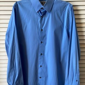 Express 1MX Slim/Fitted Solid Dress Shirt Blue